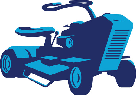 lawn mower: Illustration of a vintage ride on lawn mower on low angle set on isolated white background done in retro style.