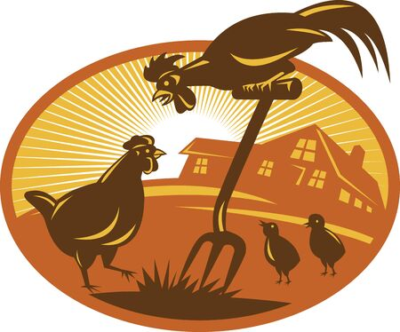 crowing: Illustration of a rooster crowing on top of spade shovel with hen chicken and chicks and cottage farm house barn in background set inside oval with sunburst done in  retro style.