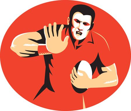 fend: Illustration of a rugby player with ball fending off viewed from front done in retro style set inside ellipse on isolated background. Illustration