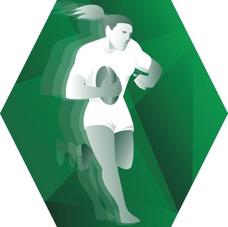 pelota rugby: Ilustración de un jugador de rugby femenino mujer corre con la bola hecha en estilo retro dentro de hexágono.