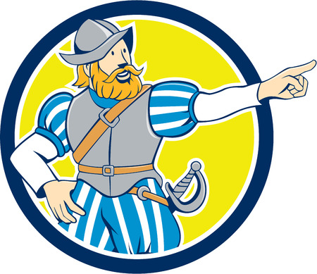Illustration of a spanish conquistador pointing looking to side set inside circle on isolated background done in cartoon style. Иллюстрация