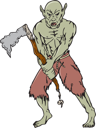 malevolent: Cartoon style illustration of an orc warrior wielding a tomahawk viewed from front on isolated background.