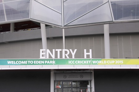 hosted: AUCKLAND-Mar.4: Entrance of the venue of the ICC Cricket World Cup 2015 jointly hosted by Australia and New Zealand from 14 February to 29 March 2015 where Cricket teams will play ODI matches at the Eden Park Rugby Stadium in Auckland, New Zealand on Wedn