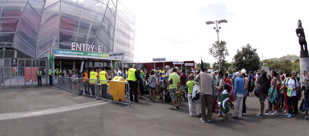 jointly: AUCKLAND-Mar.7: Cricket fans descend to the venue of the ICC Cricket World Cup 2015 jointly hosted by Australia and New Zealand  at the Eden Park Rugby Stadium to watch the Group A game One Day International ODI match between South Africa and Pakistan in  Editorial