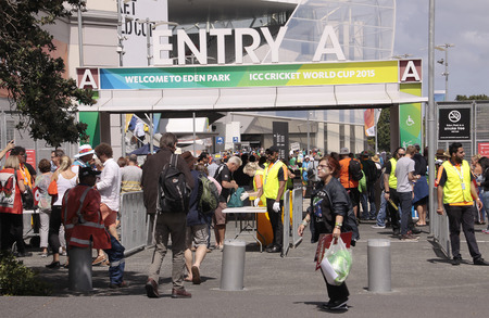overs: AUCKLAND-Mar.7: Cricket fans descend to the venue of the ICC Cricket World Cup 2015 jointly hosted by Australia and New Zealand  at the Eden Park Rugby Stadium to watch the Group A game One Day International ODI match between South Africa and Pakistan in  Editorial