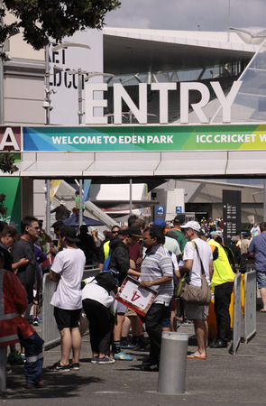 icc: AUCKLAND-Mar.7: Cricket fans descend to the venue of the ICC Cricket World Cup 2015 jointly hosted by Australia and New Zealand  at the Eden Park Rugby Stadium to watch the Group A game One Day International ODI match between South Africa and Pakistan in  Editorial