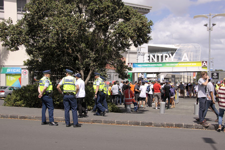 livery: AUCKLAND-Mar.7: Cricket fans descend to the venue of the ICC Cricket World Cup 2015 jointly hosted by Australia and New Zealand  at the Eden Park Rugby Stadium to watch the Group A game One Day International ODI match between South Africa and Pakistan in  Editorial