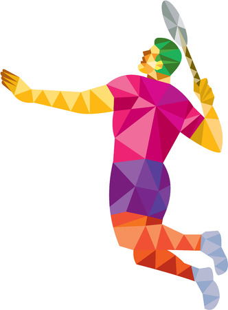 smashing: Low polygon style illustration of a badminton player holding racquet jumping smashing viewed from side set on isolated white background.