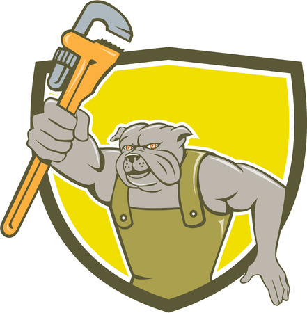 monkey wrench: Illustration of a bulldog plumber holding monkey wrench facing front set inside shield crest on isolated background done in cartoon style.