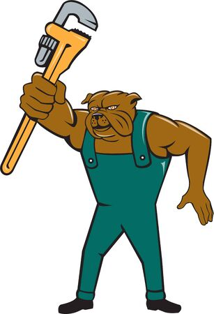 monkey wrench: Illustration of a bulldog plumber standing holding monkey wrench facing front set on isolated white background done in cartoon style.