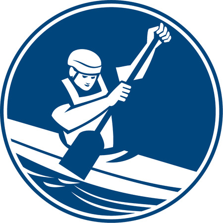kayak: Icon illustration of a man in a canoe kayak with paddle canoeing slaloming viewed from front set inside circle on isolated background done in retro style. Illustration