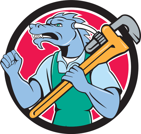 fist pump: Illustration of a green dragon plumber facing side holding monkey wrench on shoulder making fist pump set inside circle done in cartoon style.