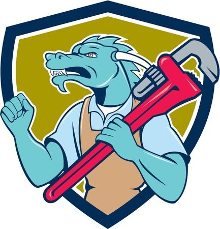 fist pump: Illustration of a green dragon plumber facing side holding monkey wrench on shoulder making fist pump set inside shield crest done in cartoon style. Illustration