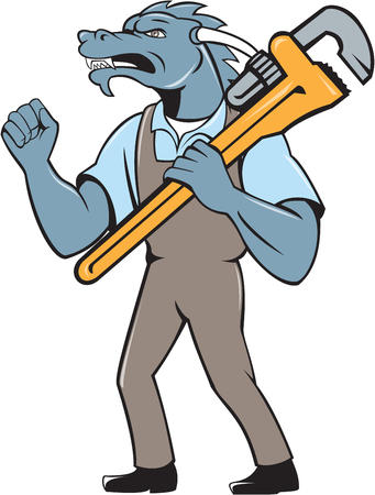 monkey wrench: Illustration of a green dragon plumber standing facing side holding monkey wrench on shoulder making fist pump set on isolated white background done in cartoon style.
