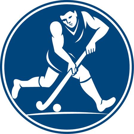 hockey sobre cesped: Ilustraci�n Icono de un jugador de hockey de campo que ejecuta con el palillo bola llamativo visto desde el lado fij� el c�rculo interior hecho en estilo retro en el fondo aislado.
