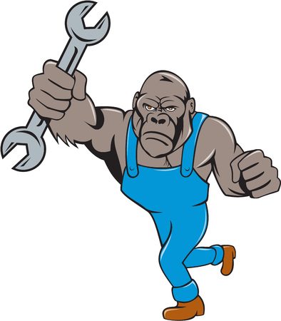 apes: Illustration of an angry gorilla ape mechanic standing with spanner punching facing front set on isolated white background done in cartoon style.
