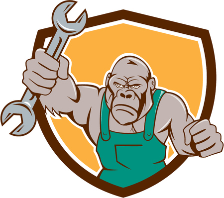 punched: Illustration of an angry gorilla ape mechanic with spanner punching facing front set inside shield crest on isolated background done in cartoon style.