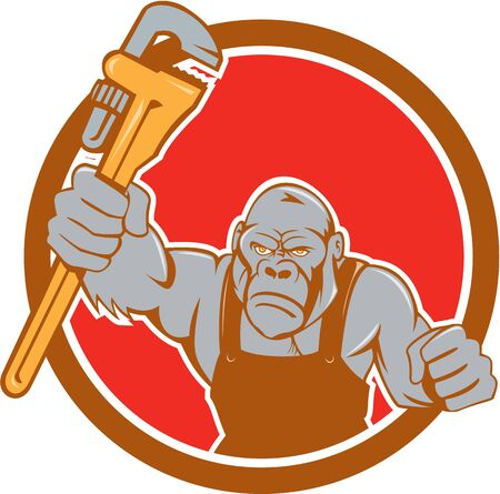 monkey wrench: Illustration of an angry gorilla ape plumber with monkey wrench punching facing front set inside circle on isolated background done in cartoon style.