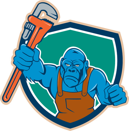 apes: Illustration of an angry gorilla ape plumber with monkey wrench punching facing front set inside shield crest on isolated background done in cartoon style. Illustration