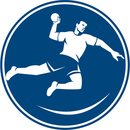 throwing ball: Icon illustration of a handball player jumping throwing ball scoring set inside circle on isolated background done in retro style.