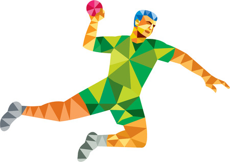 throwing ball: Low polygon style illustration of a handball player jumping throwing ball scoring set  on isolated white background done in retro style. Illustration