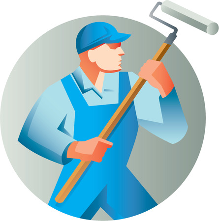 house painter: Illustration of a house painter holding paint roller painting looking to the side set inside circle on isolated background done in retro style. Illustration