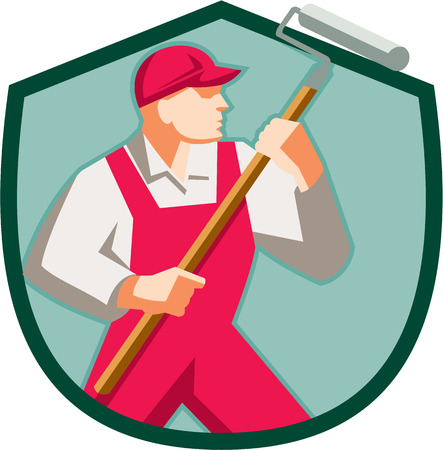 house painter: Illustration of a house painter holding paint roller painting looking to the side set inside shield crest on isolated background done in retro style. Illustration