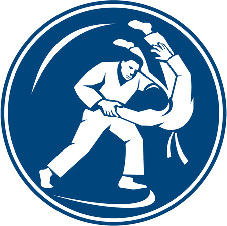 judo: Icon illustration of judo combatants throw takedown set inside circle on isolated background done in retro style.