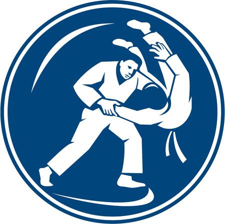 judo: Ilustración Icono de combatientes judo tiro Takedown establece dentro del círculo en el fondo aislado hecho en estilo retro.