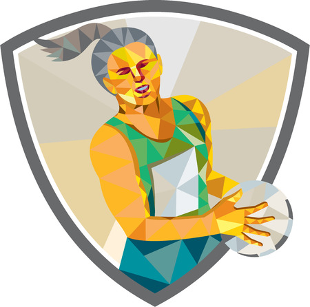 Low polygon style illustration of a netball player holding ball viewed from front set inside shield crest on isolated white background.