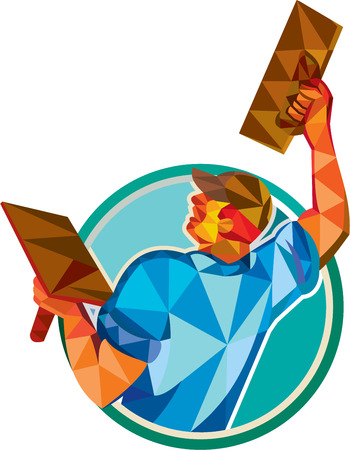 Low polygon style illustration of a plasterer masonry tradesman construction worker raising up trowel over head viewed from the back set inside circle done on isolated background Illusztráció