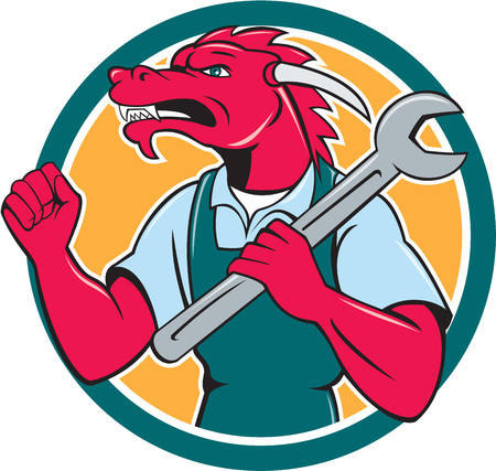 fist pump: Illustration of a red dragon mechanic facing side holding spanner on shoulder making fist pump set inside circle on isolated background done in cartoon style.