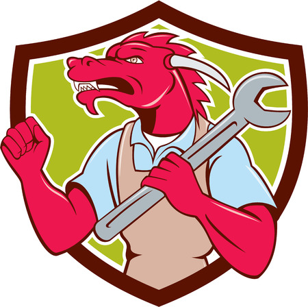 fist pump: Illustration of a red dragon mechanic facing side holding spanner on shoulder making fist pump set inside shield crest on isolated background done in cartoon style.