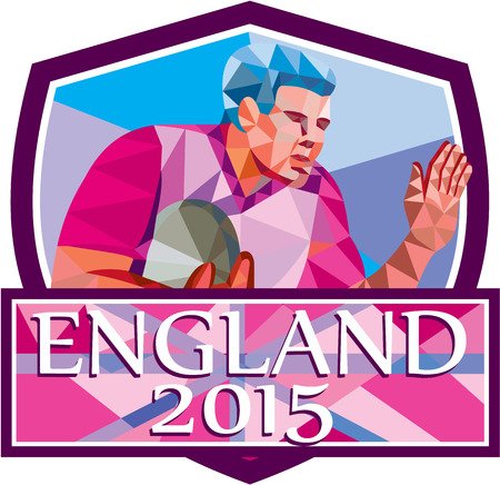 fend: Low polygon style illustration of rugby union player with ball fending off set inside shield crest with words England 2015.