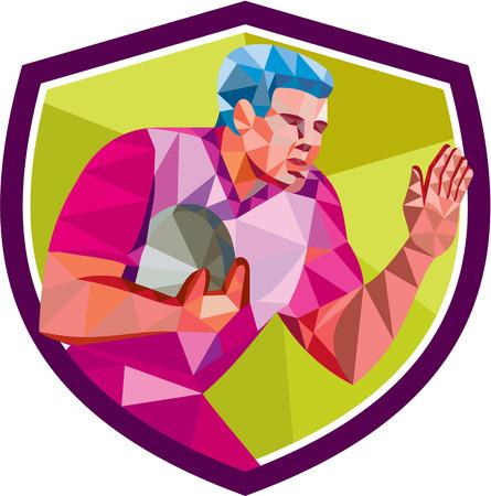 Low illustrazione stile poligono di giocatore di rugby con la palla difendersi esecuzione impostato all'interno scudo stemma su sfondo isolato.