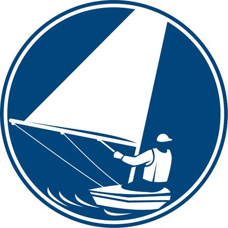 barca a vela: Icona illustrazione di un uomo in un yachting barca a vela navigare visto dal set posteriore interna cerchio su sfondo isolato fatto in stile retr�.