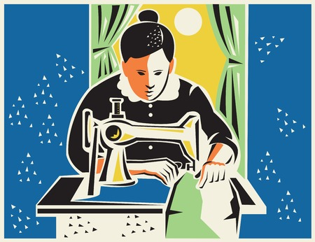 dressmaker: Illustration of a seamstress dressmaker tailor sewing with vintage machine done in retro woodcut style with sun moon curtain in the background.