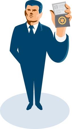 officier de police: Illustration d'un homme d'affaires agent secret debout montrant carte d'identit� insigne portefeuille de face vue de grand angle fait dans le style r�tro.