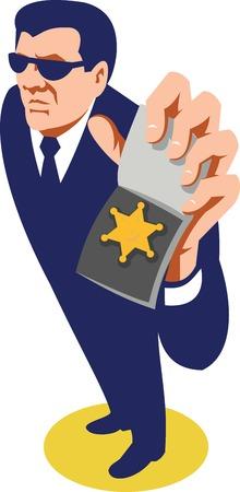 officier de police: Illustration d'un secret policier l'agent d�tective policier montrant un badge ID fait dans le style r�tro vu de grand angle sur fond blanc isol�. Illustration