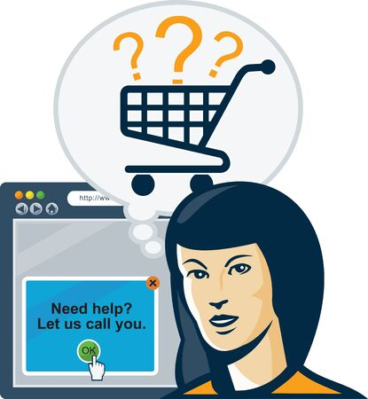 web browser: Illustration of a female internet shopper with bubble and shopping cart and internet web browser in background done in retro style.