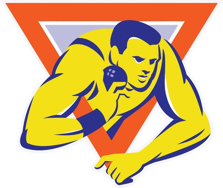shot put: Illustration of a shotput throw track and field athlete in action set inside triangle done in retro style.
