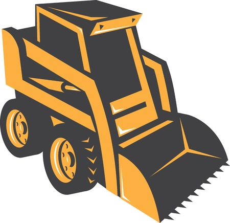Illustration of a skid steer digger truck on isolated white background done in retro style