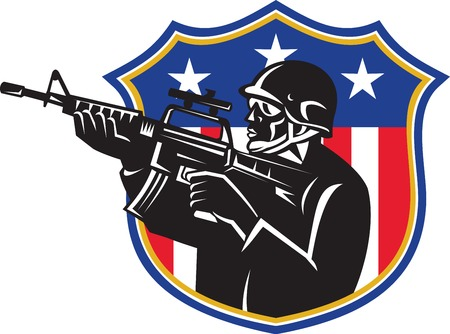 Illustration of an american soldier swat policeman holding m4 carbine rifle set inside shield with stars and stripes usa flag in the background done in retro style.