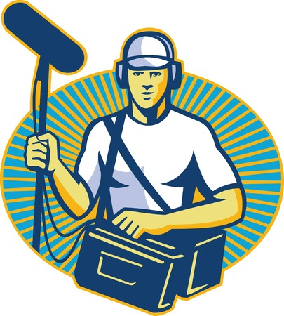 Illustration of a soundman worker with headphone and bag holding a telescopic microphone done in retro style inside oval facing front with sunburst in the background.
