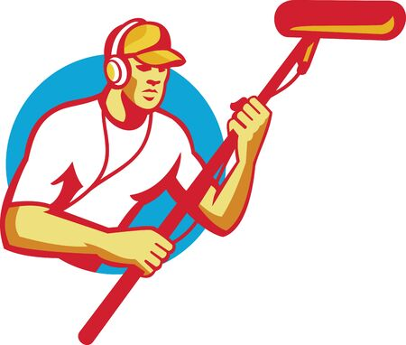 Illustration of a sound man soundman worker with headphone holding a telescopic microphone done in retro style inside circle.