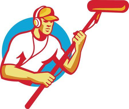 telescopic: Ilustraci�n de un hombre de sonido trabajador t�cnico de sonido con auriculares con un micr�fono telesc�pico hecho en estilo retro del c�rculo interior. Vectores