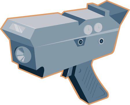 radar gun: Ilustraci�n de una pistola de radar de radares m�viles, visto desde un �ngulo alto hecho en estilo retro en el fondo blanco aislado. Vectores