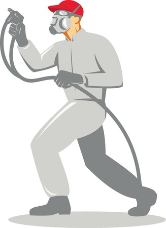 paint gun: Illustration of a spray painter with face mask spraying paint spray gun viewed from side done in retro style on isolated white background. Illustration