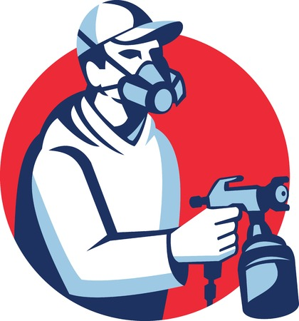 Illustration of a spray painter spraying spray gun with face mask viewed from side set inside circle done in retro style. Illustration