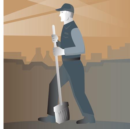 spazzatrice: Illustrazione di uno spazzino pulito con scopa a lavorare in strada Visto dal lato, con edifici sullo sfondo fatto in stile art retr� inserita in forma quadrata.